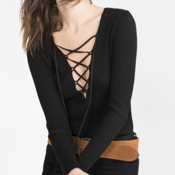 Zara | Black Lace Up Ribbed Knit Sweater